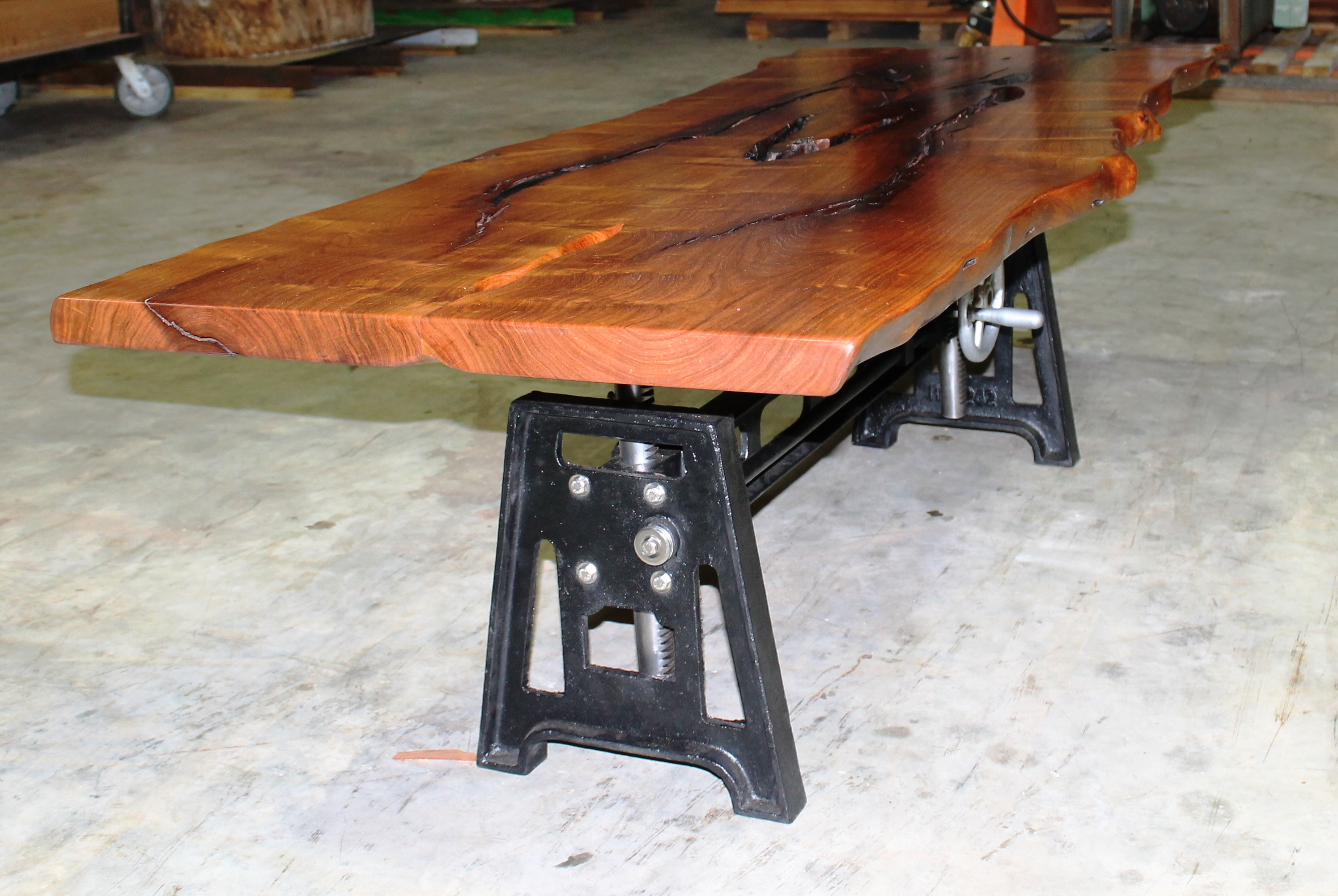 Mesquite Coffee Table With Industrial Base